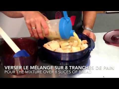 recette-dessert-tupperware-facile-de-pouding-au-pain-et-sauce-au-caramel-/-bread-pudding-and-caramel