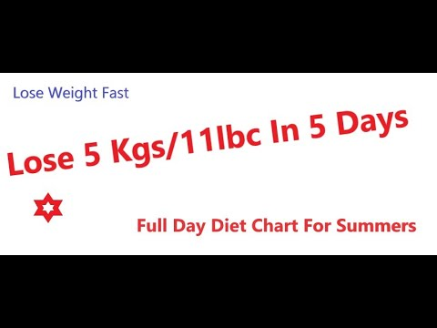 Lose 5kg in 5 Days Full Day Summer Diet Chart ( Urdu/Hindi)