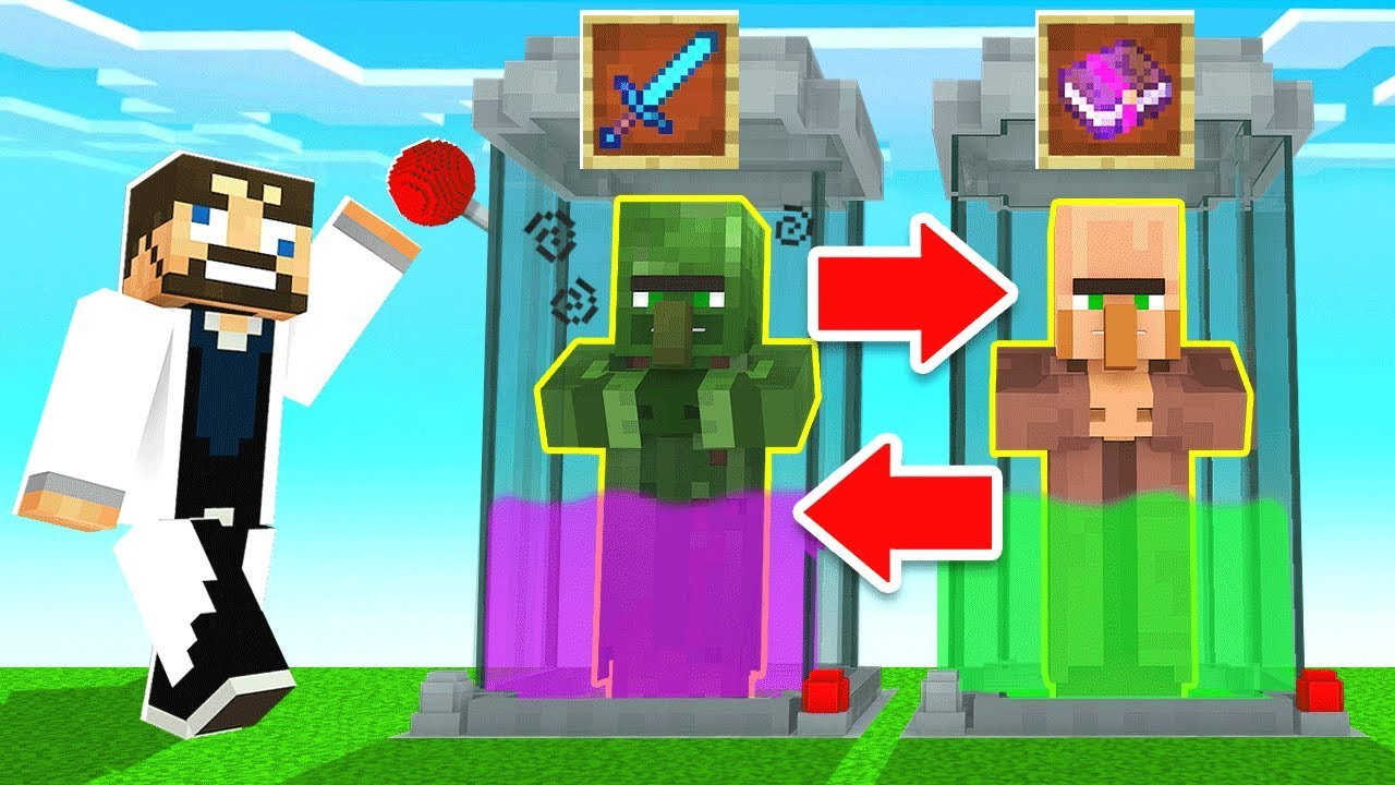 *TRADING* with ZOMBIES CHEAT (Minecraft)