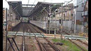 京王本線の中で最も短い駅間の類となる西調布駅~飛田給駅間を走行する下り7000系の前面展望