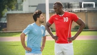 Usain Bolt speeds up Aguero ahead of Manchester derby thumbnail