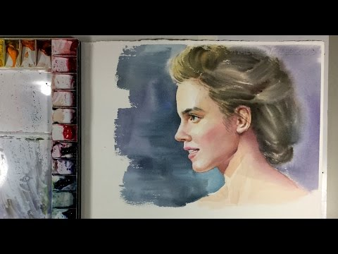 Watercolor painting Portrait Of Beautiful Girl | Emma Watson