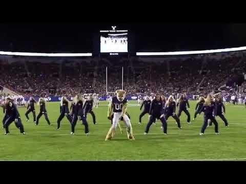 BYU Cheerleaders and Mascot Kill their Dance Routine