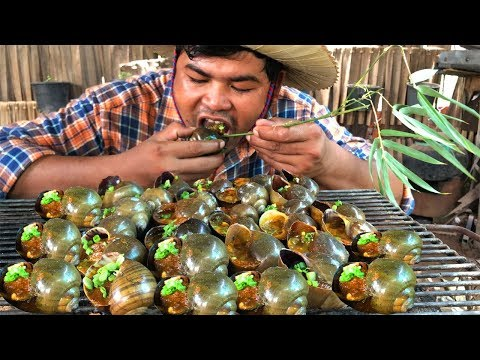 Yummy !Grilled Snails bbq for food | Cooking snail bbq with chili sauce recipe