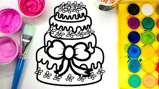 Painting Pretty Birthday Cake Coloring Pages with Water color, Kids Learn to Colour with Paint