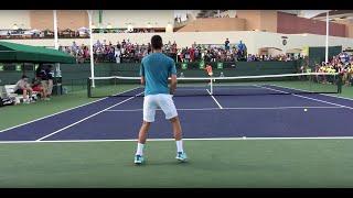 Novak Djokovic / Ernesto Escobedo (60 fps) 2017 Indian Wells Practice 3/11/17 BNP Paribas Open