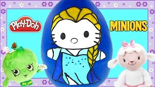Hello Kitty as Frozen Elsa Play Doh Giant Surprise Egg Shopkins Minions Disney Toys by DCTC