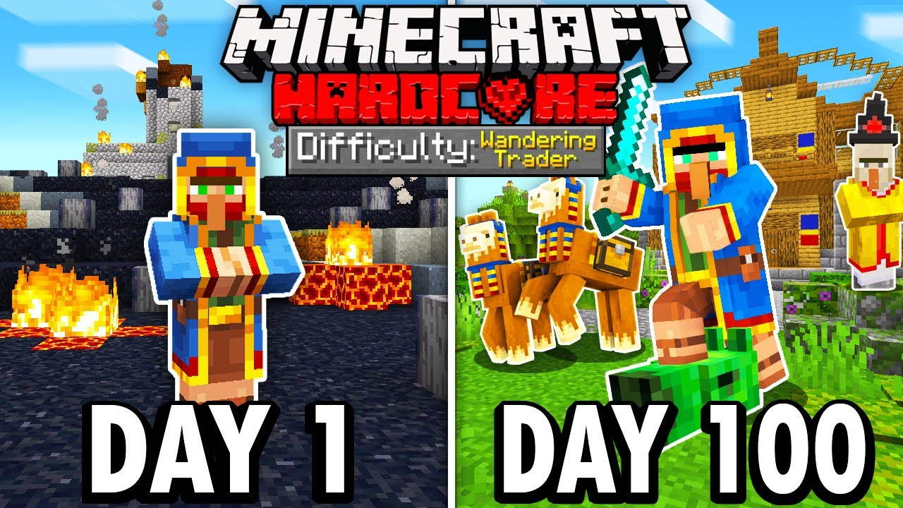 Download I Survived 100 Days as a WANDERING TRADER in Hardcore Minecraft... Here's What Happened