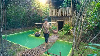 Amazing Girl Build The Most Beautiful Bamboo Villa around Swimming Pool