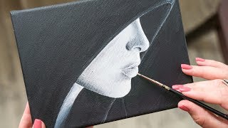 Beautiful Girl in Black Hoodie - Acrylic painting / Homemade Illustration (4k)