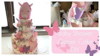 Baby Girl Shower Diaper Cake DIY