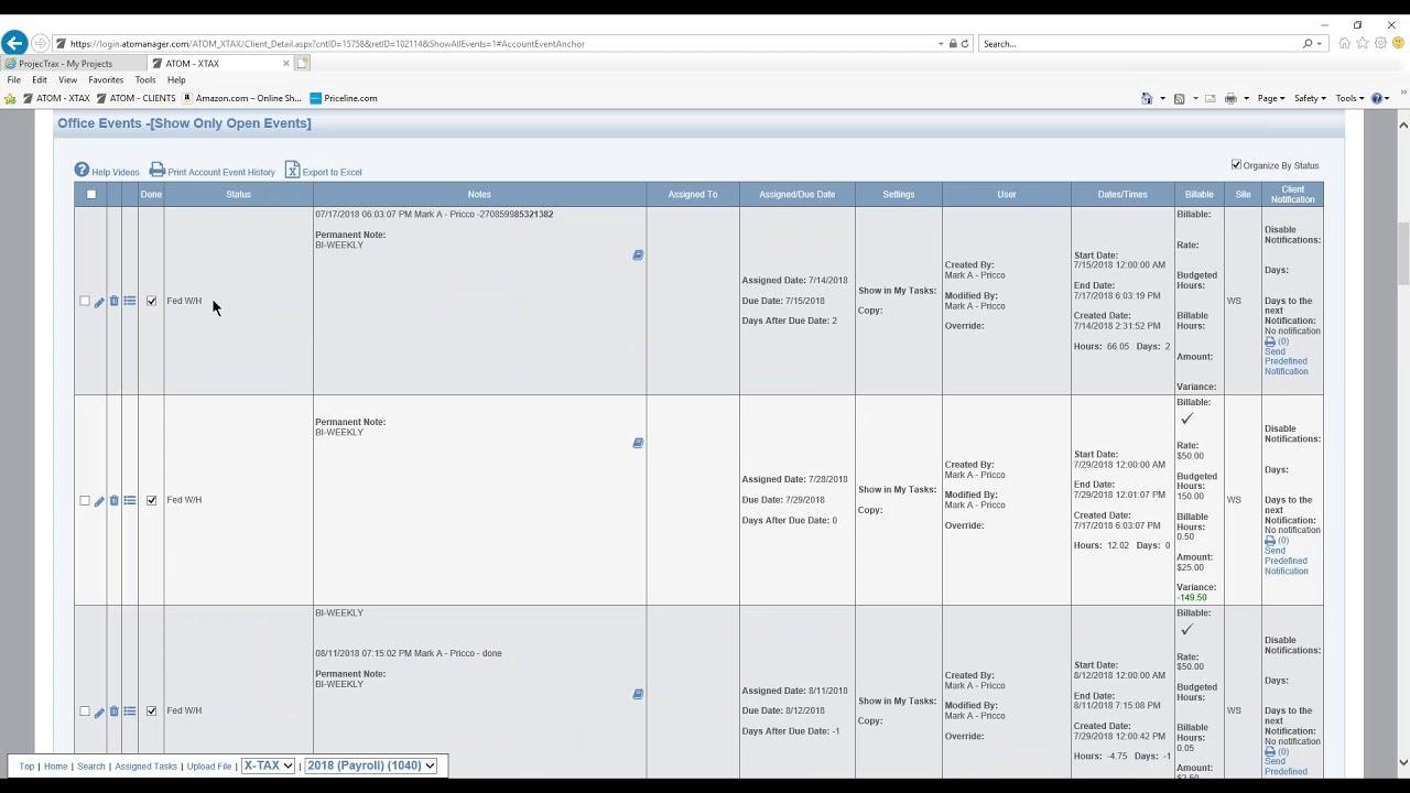 Office Event Summary Table