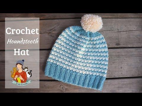 Crochet Houndstooth Hat / Beginner Friendly Tutorial