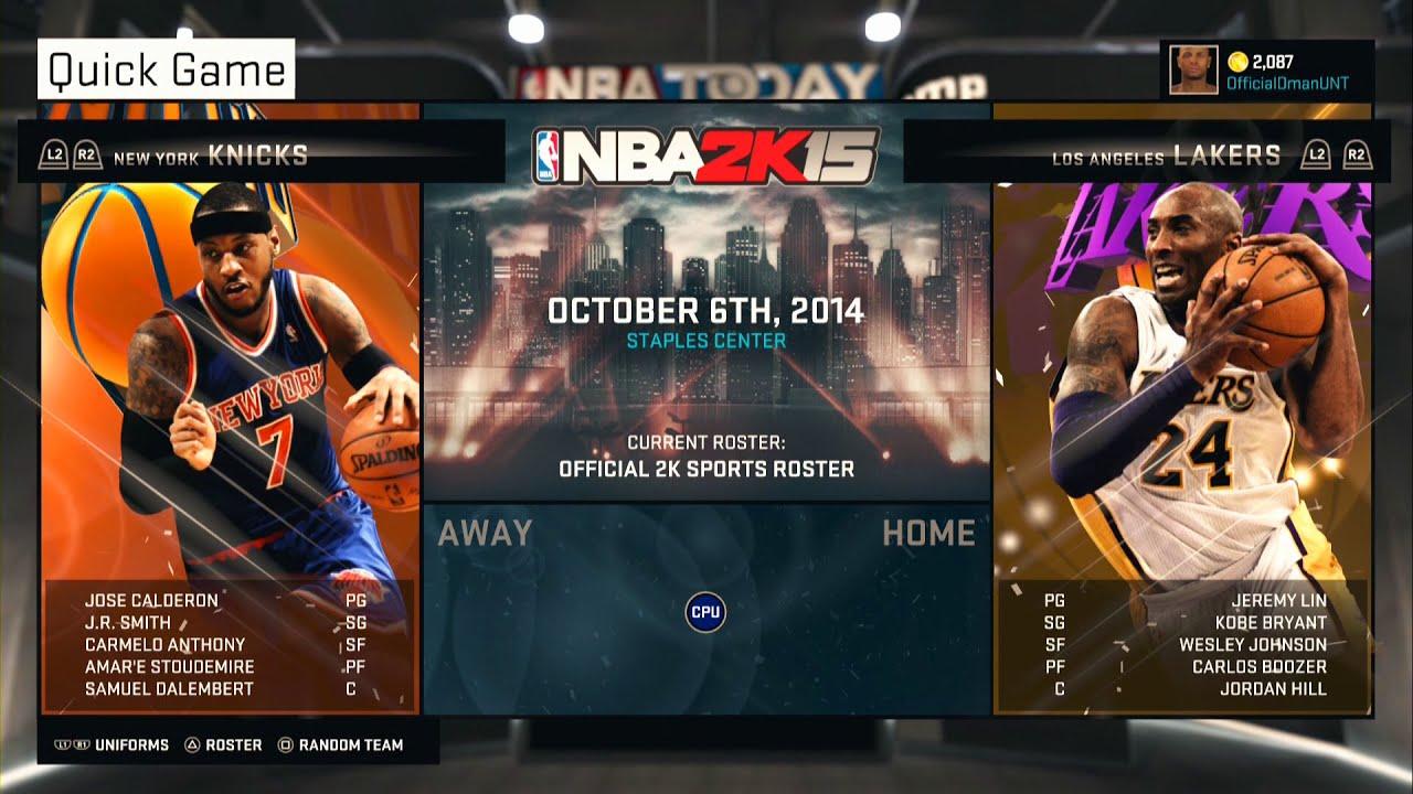 PS4 NBA 2K15 HD Gameplay Kobe Bryant Vs Carmelo Anthony