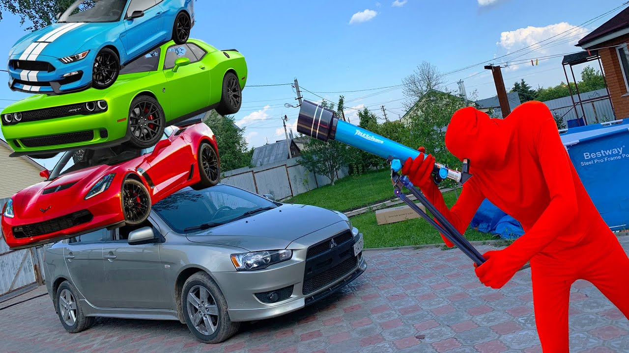 Red Man found TELESCOPE & removes fallen Ford Mustang and Dodge Challenger from Sky 13+