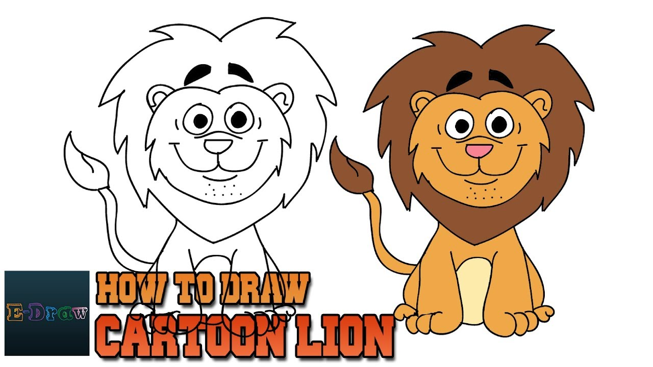 How To Draw Cartoon Lion Art Lesson For Kids Step By Step Youtube