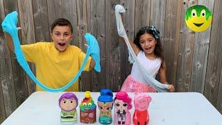 أطفال يصنعون سلايم ملون جديد   colorful slime  Heidi و Zidane