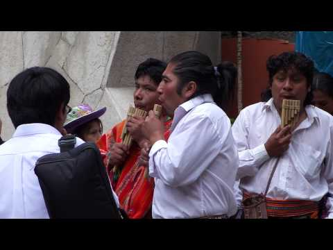 Peruvian Pan Pipe band plays Andean music in Aguas Calientes near Machu Picchu