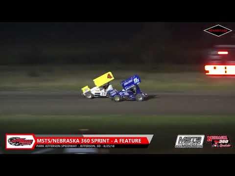 MSTS/Nebraska 360 Sprint Car - A Feature - Park Jefferson Speedway - 8/25/18