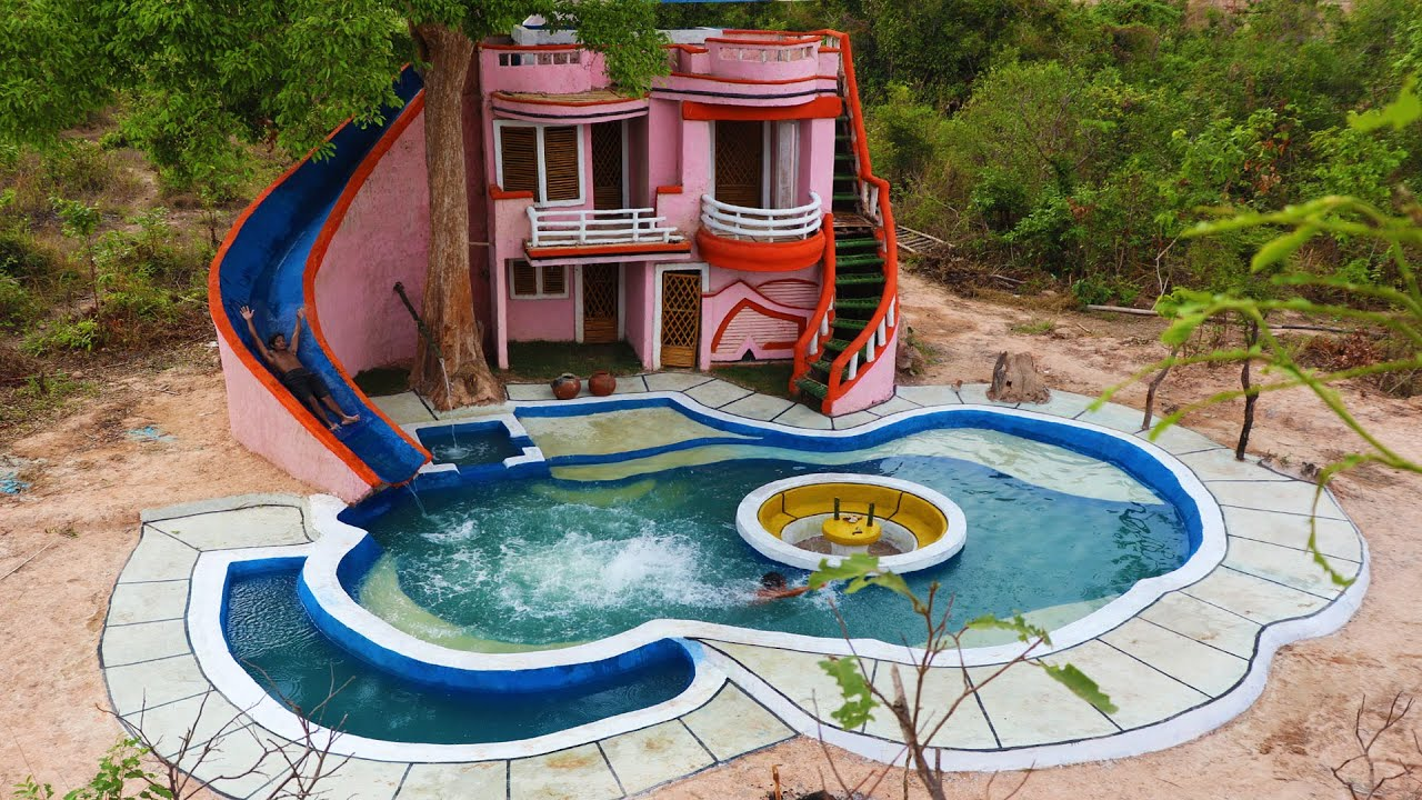 125Days To Build The Most Up To Date Mud Villa With WaterSlide &attractive Underground Swimming Pool