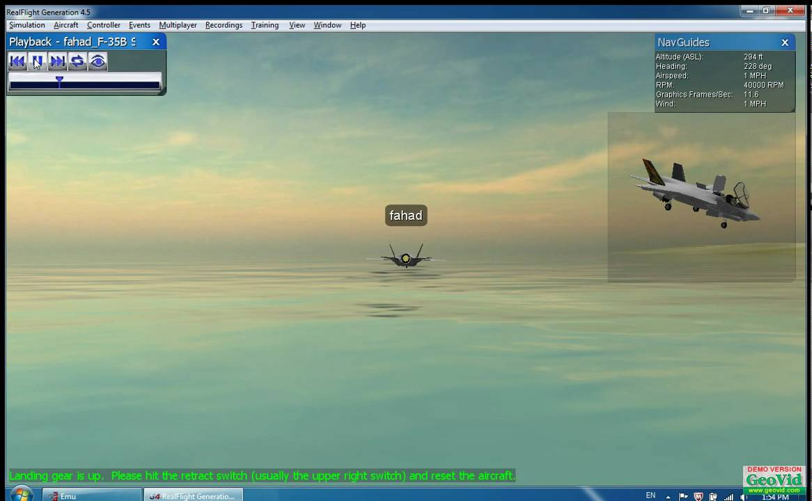 RealFlight G4 5 Harrier can div in water !!!