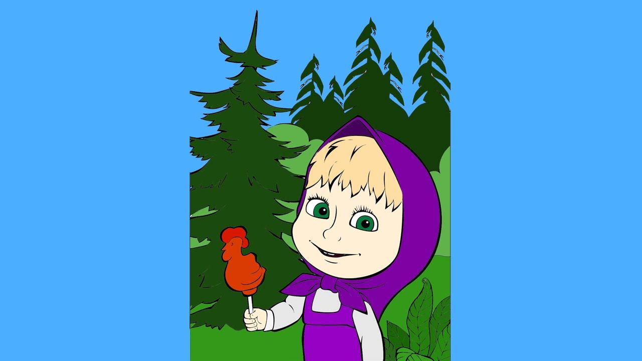 Imagenes Animadas Para Colorear: Masha Y El Oso De Dibujos Animados Para Colorear Para Los