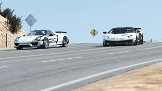Lamborghini SVJ 63 vs Porsche 918 Spyder at Black Cat Country