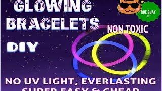 How to make  glow in the dark  light sticks bracelets . Non toxic, no UV light.Diy craft