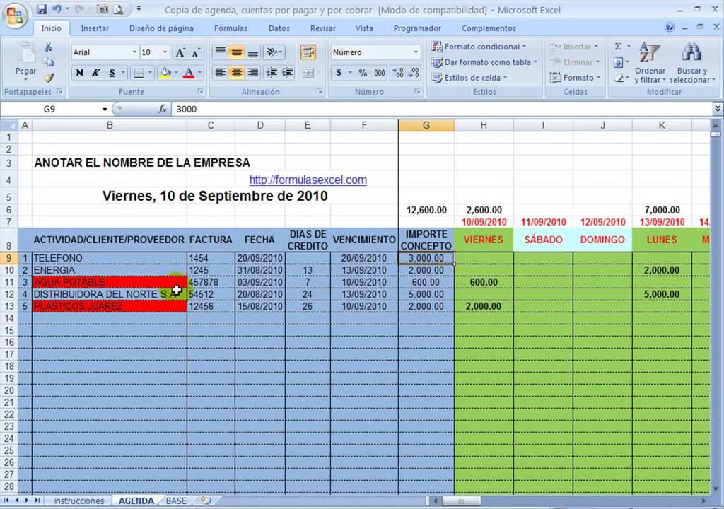 agenda en excel - cuentas por pagar - cuentas por cobrar - YouTube
