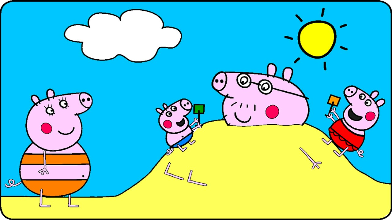 Peppa Pig Coloring Pages for Kids Peppa Pig Coloring Games Peppa Pig At The Beach Coloring