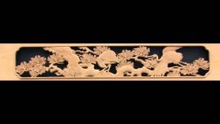 彫刻欄間 松に鶴
