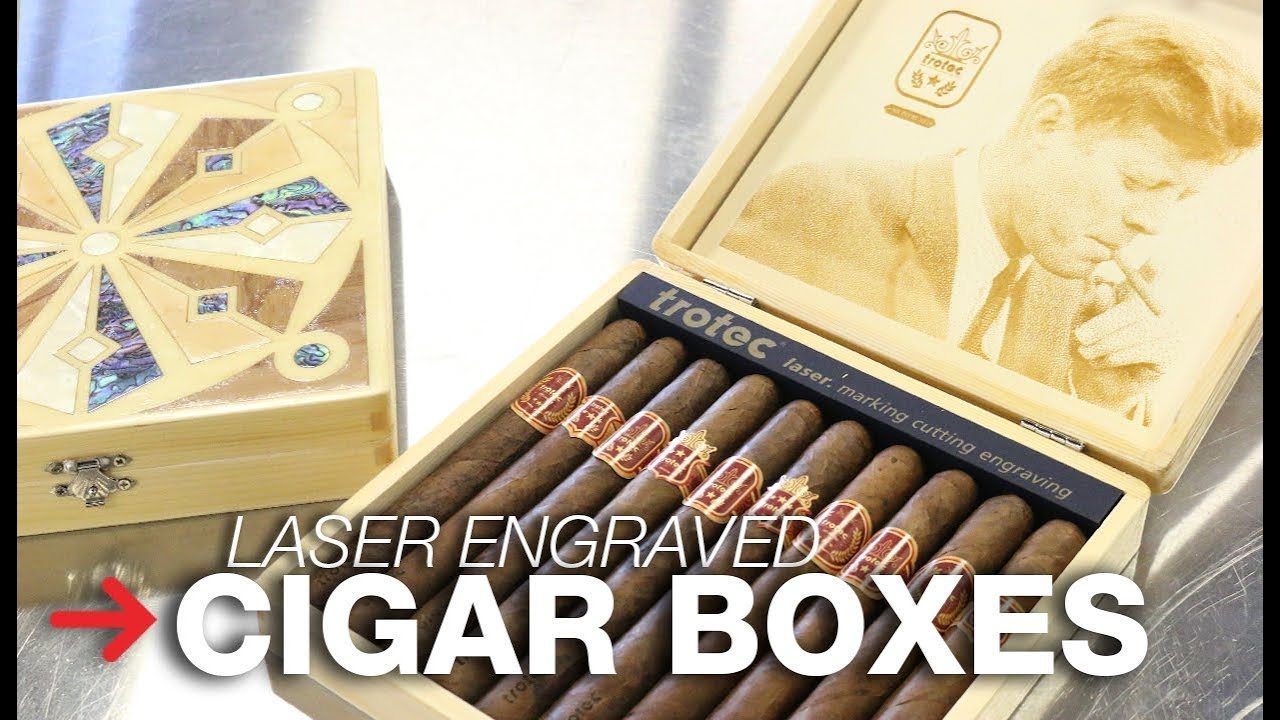 Laser Engraved Cigar Box Wood Inlay Humidor Trotec
