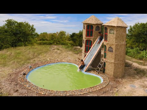 Design Swimming Pool And Water Slide For Three Story Mud Twin Skyscraper