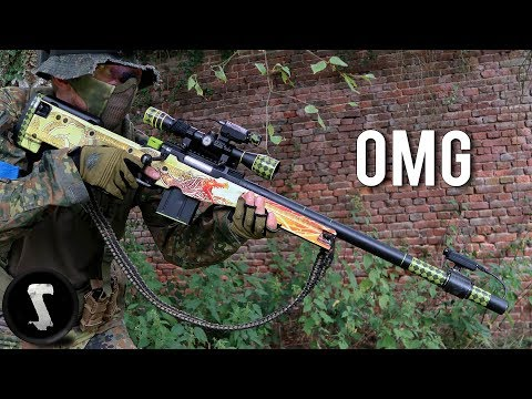 Guy Brings Airsoft AWP Dragon Lore and Destroys Everyone!