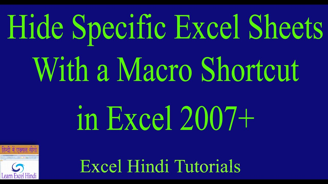Learn Excel Hindi Hide Specific Excel Sheets With A Macro Shortcut In Excel In Hindi 47