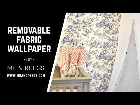Installing DIY Removable Fabric Wallpaper DIY || Me & Reegs