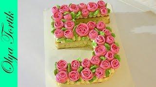 Торт Цифра Кремовый торт с цветами  Розы из безе /// Olya Tortik Домашний Кондитер