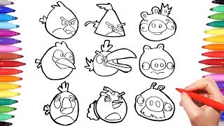 Gambar cover Angry Birds Coloring pages for Kids | How to draw and color all Angry Birds Characters