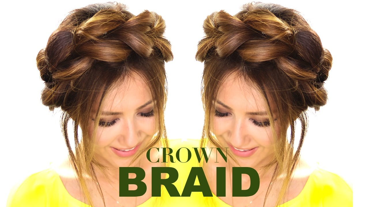 Pull Through Crown Braid Updo Hair Tutorial Easy Braids