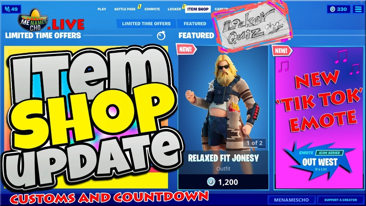 💥FORTNITE ITEM SHOP UPDATE 🔵 Countdown ⚡ LIVE - 7th August 2020 (Fortnite Battle Royale)