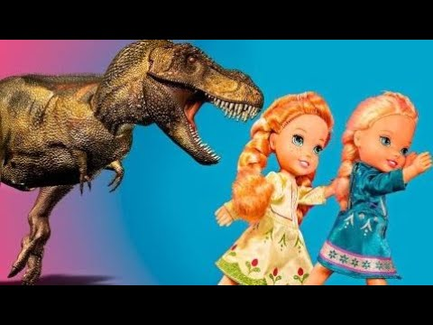 Elsa and Anna toddlers DINOSAUR ATTACK! forest adventure