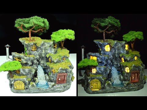 DIY Rock Houses with Waterfall | Rock Village | Paper Mache Tutorial | Faux Wood Door & Stone