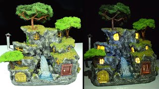 DIY Rock Houses with Waterfall | Rock Village | Paper Mache Tutorial | Faux Wood Door & Stone