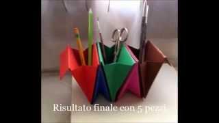 Porta penne con cartoncini colorati