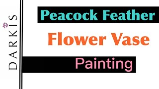 Peacock Flower Vase Acrylic Painting on Canvas Board