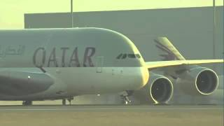 QATAR AIRWAYS AIRBUS A380 FIRST LANDING IN NEW Doha International Airport MUST WATCH! 4K