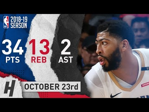 Anthony Davis Full Highlights Pelicans vs Clippers 2018.10.23 - 34 Pts, 2 Ast, 12 Reb!
