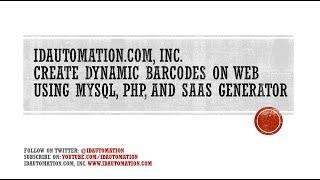 كيفية إنشاء #DynamicBarcodes على الويب باستخدام MySQL ، PHP و خدمة استضافة