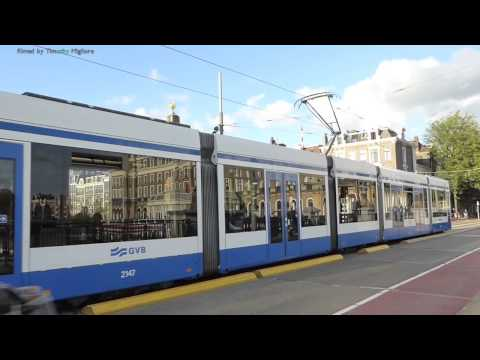 Trams In Amsterdam, Netherlands