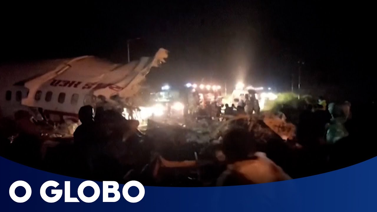 Avião com 191 pessoas se parte ao pousar na Índia